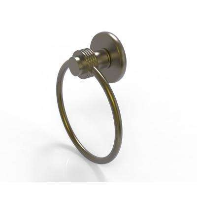 Mercury Collection Towel Ring with Groovy Accent in Antique Brass