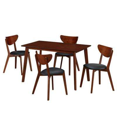 5 Piece Walnut Modern Wood Dining Room Table And Chairs Set