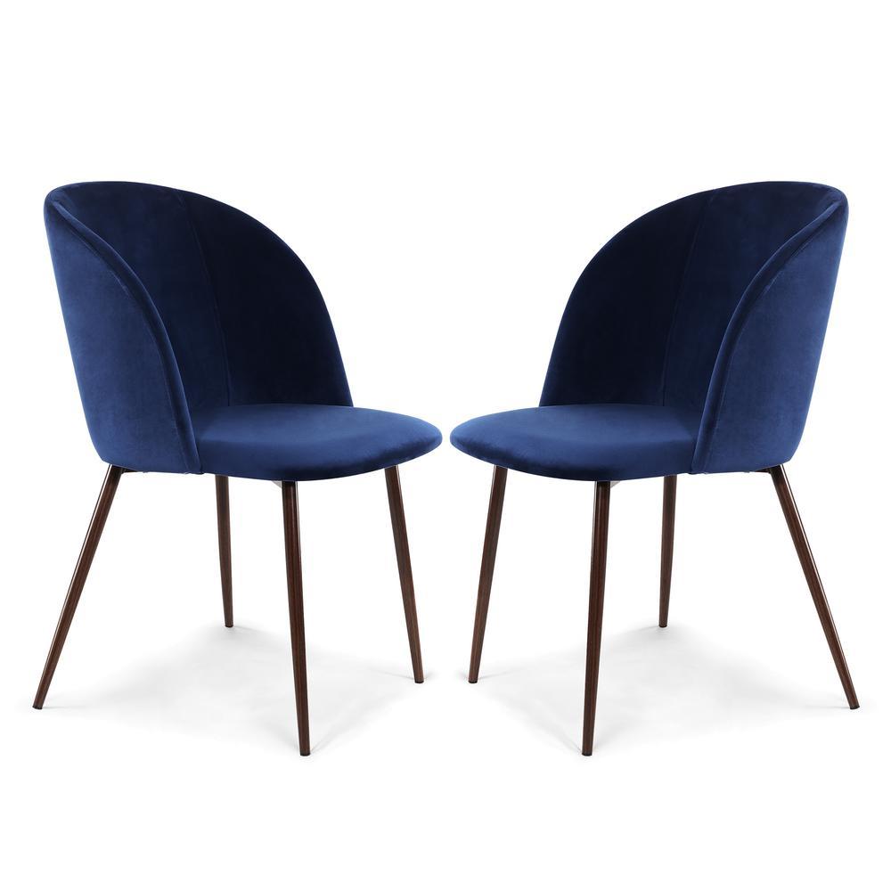Poly And Bark Kantwell E Blue Velvet Dining Chair Set Of 2