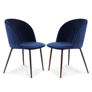 Outstanding Poly And Bark Kantwell Space Blue Velvet Dining Chair Set Unemploymentrelief Wooden Chair Designs For Living Room Unemploymentrelieforg