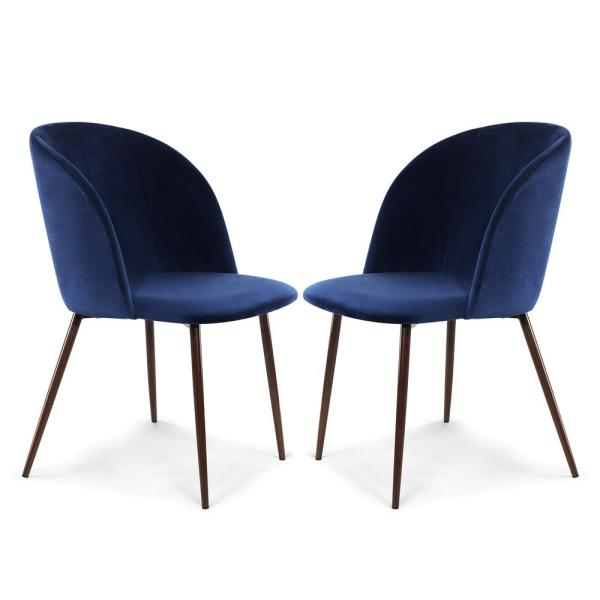 Poly and Bark Kantwell Space Blue Velvet Dining Chair (Set of 2)