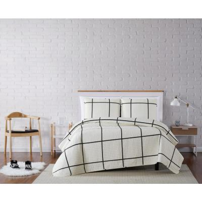 Kurt Windowpane Ivory and Black Twin XL 2-Piece Quilt Set