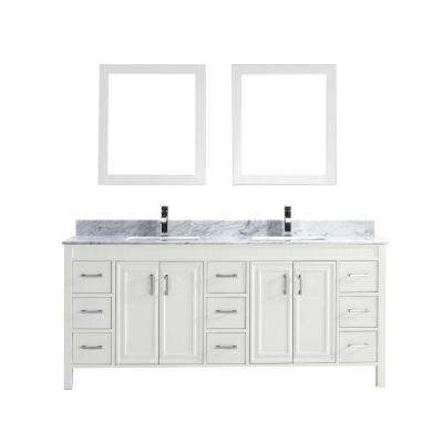 Dawlish 75 in. Vanity in White with Marble Vanity Top in Carrara White and Mirror
