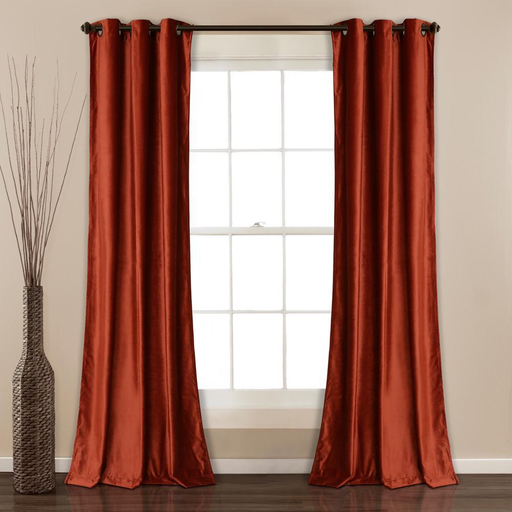 "Prima Velvet Solid Window Panels Rust 84"" x 38"" 2-Pc Set 100% Polyester"