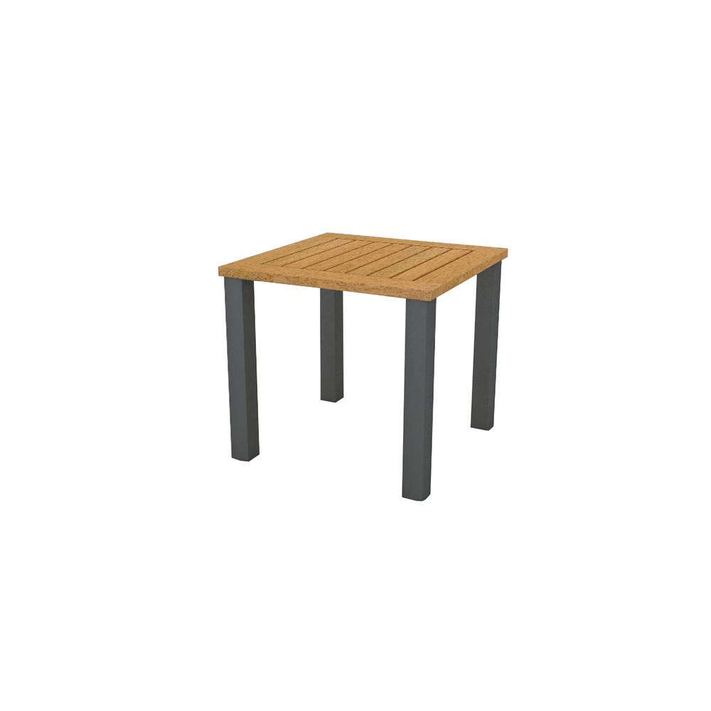 Hampton Bay Baymont Teak Wood 19 5 In X Metal Slatted Top Outdoor Patio Side Table