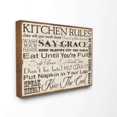 """24 in. x 30 in. """"Kitchen Rules Creme Typography"""" by Stephanie Workman Marrott Printed Canvas Wall Art"""