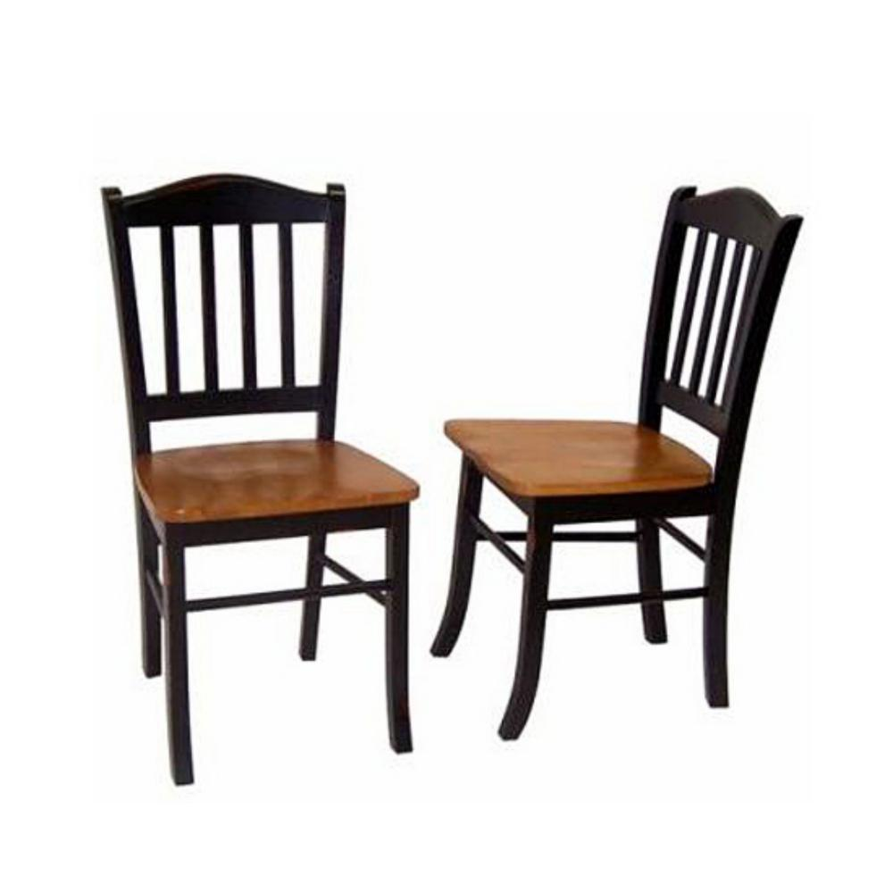 BORAAM Black and Oak Shaker Dining Chair (Set of 2), Blac...