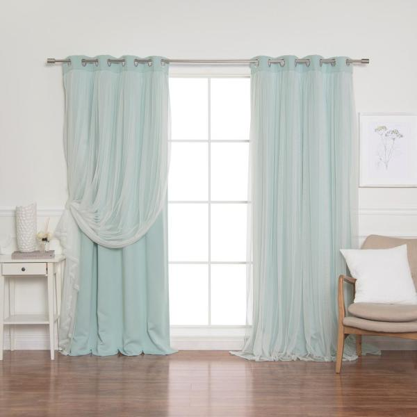 84 in. L Mint Marry Me Lace Overlay Blackout Curtain Panel (2-Pack)