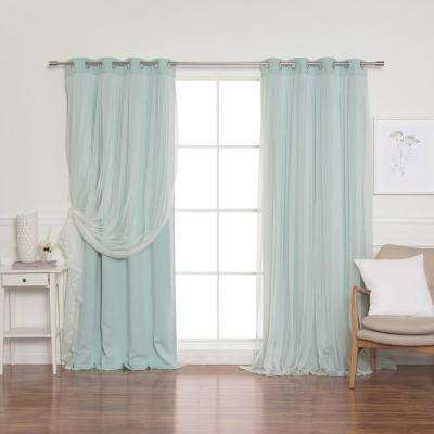 Mint 96 in. L Marry Me Lace Overlay Blackout Curtain Panel (2-Pack)