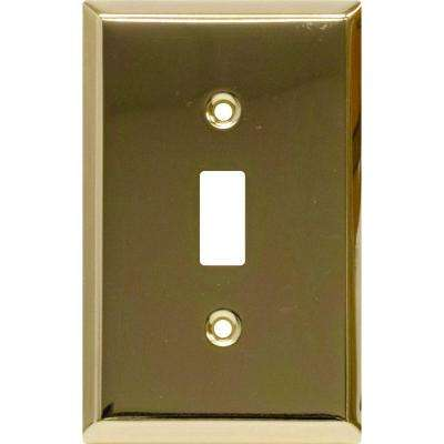 1 Toggle Switch Wall Plate, Faux Brass