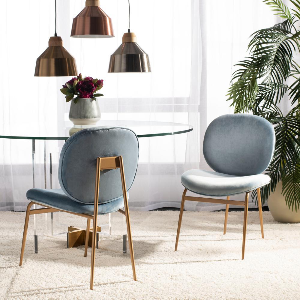 Jordana Slate Blue/Gold Velvet Side Chair (Set of 2)