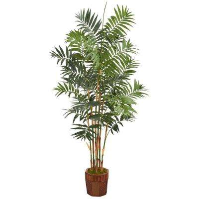 5.5 ft. High Indoor Bamboo Palm Artificial Palm Tree in Decorative Wood Planter