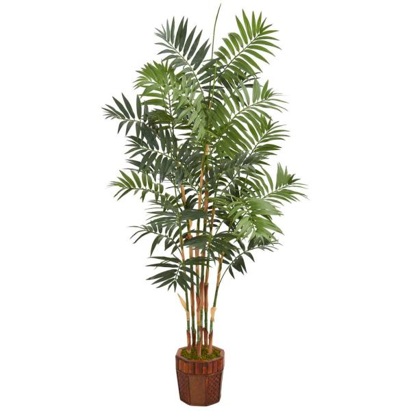 5 5 ft  High Indoor Bamboo Palm Artificial Palm Tree in Decorative Wood  Planter