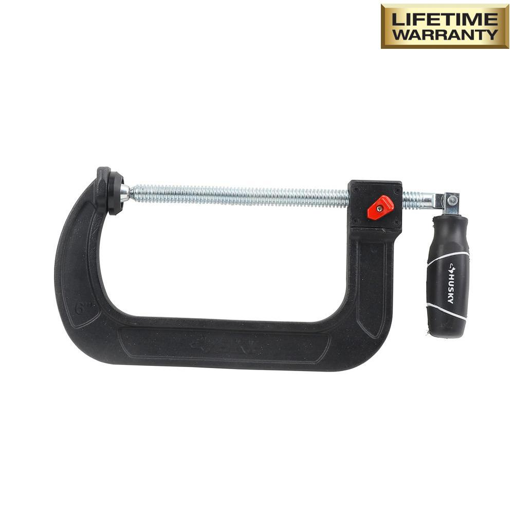 Husky 6 in. Quick Adjustable C-Clamp with Rubber Handle