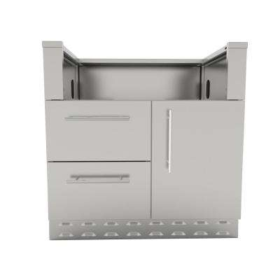 Designer Series 304 Stainless Steel 34 in. x 34.5 in. x 28.25 in. Drop in Gas Grill Base Cabinet