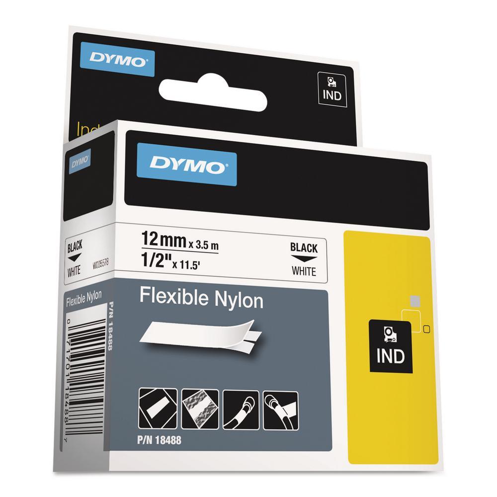 Rhino Flexible Nylon Industrial Label Tape, 1/2 in. x 11-1/2 ft. White/Black Print