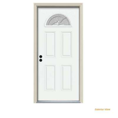 30 in. x 80 in. Fan Lite Langford White Painted Steel Prehung Right-Hand Inswing Front Door w/Brickmould