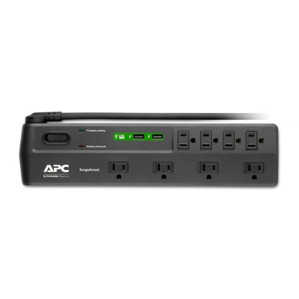 Apc Home Office 8 Outlet Surgearrest With 2 Usb Charging Ports P8u2 The Home Depot
