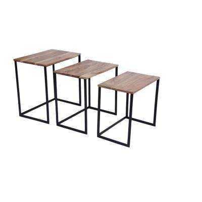 Classic Brown and Black Iron Nesting Table (Set of 3)