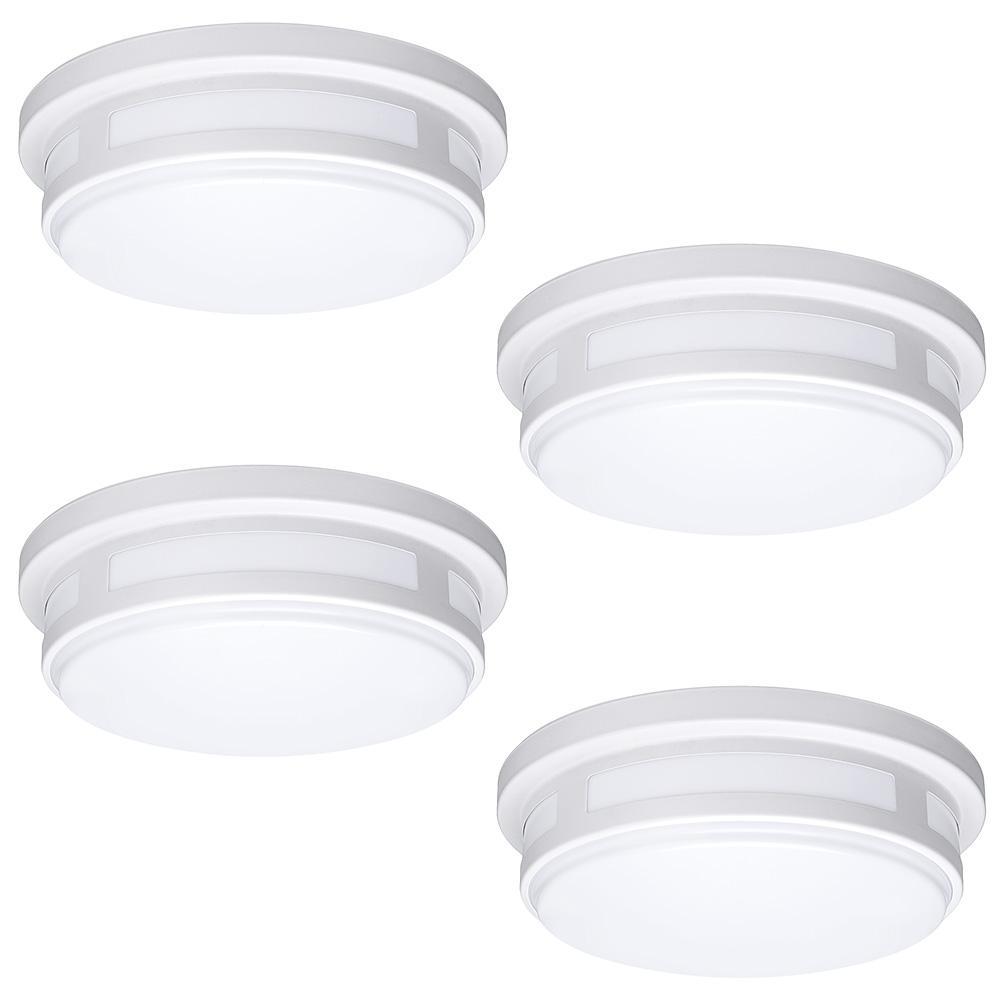 new styles 83267 c1523 Hampton Bay 11 in. 1-Light Round White LED Indoor Outdoor Flush Mount Porch  Light 830 Lumens 2700K 3000K 4000K Wet Rated (4 Pack)