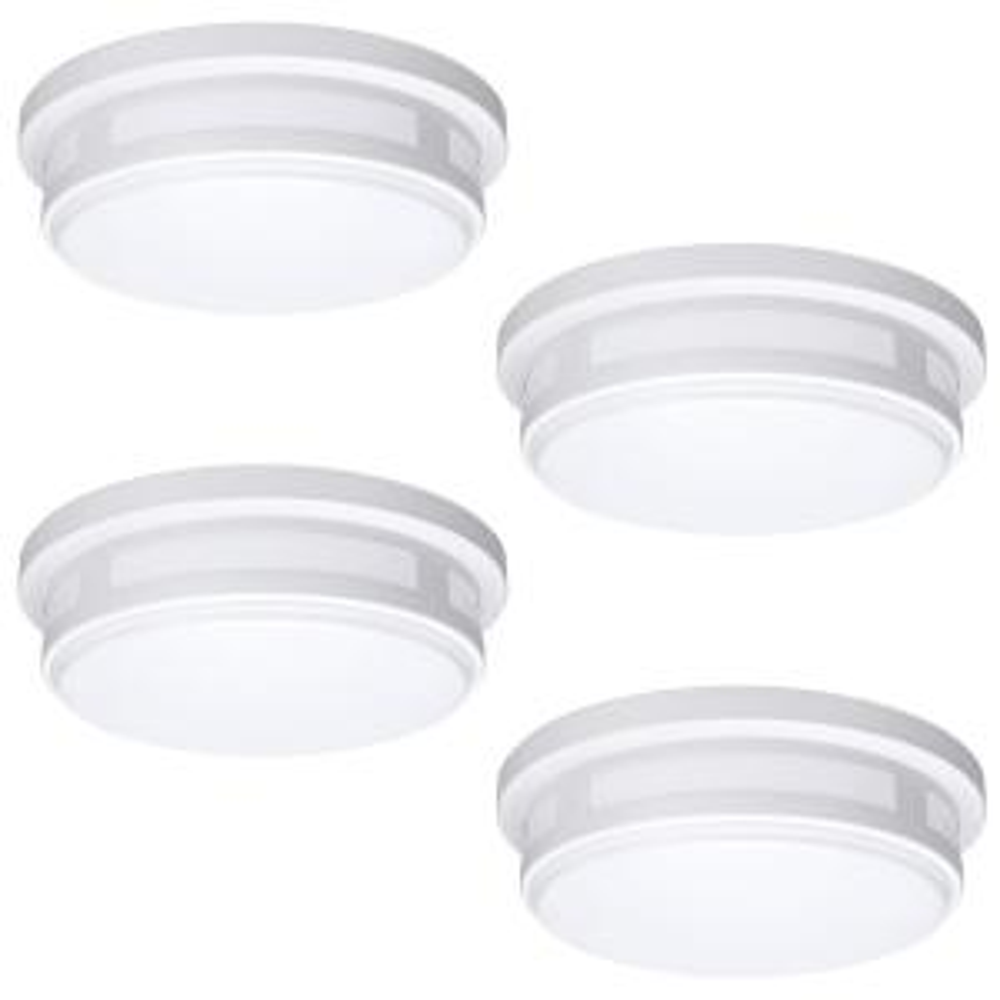11 in. 1-Light Round White LED Indoor Outdoor Flush Mount Porch Light 830 Lumens 2700K 3000K 4000K Wet Rated (4 Pack)