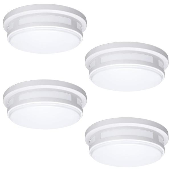 11 in. 1-Light Round White LED Indoor Outdoor Flush Mount Porch Light 830 Lumens 3 Color Temp Changes Wet Rated (4-Pack)