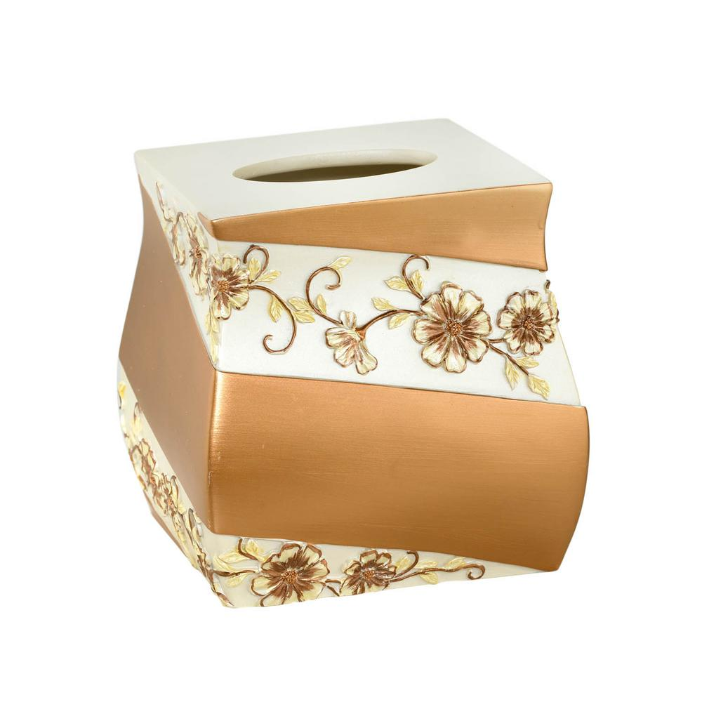 Popular Bath Products Veronika Tissue Box in Beige