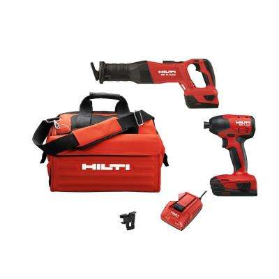 22-Volt Lithium-Ion Cordless Impact Drill Driver/Reciprocating Saw Combo Kit (2-Tool)