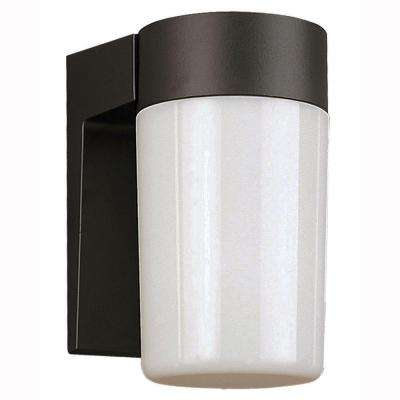 1-Light Black Outdoor Energy Saving Coach Lantern with Opal Glass