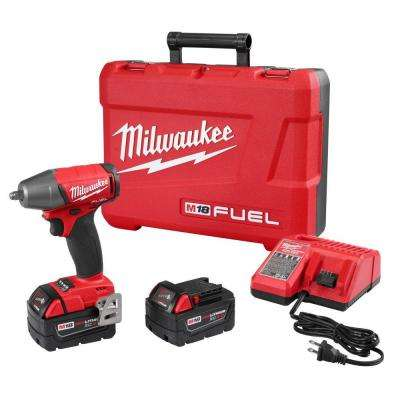 M18 FUEL 18-Volt Lithium-Ion Brushless Cordless 3/8 in. Impact Wrench with Friction Ring Kit with Two 5 Ah Batteries