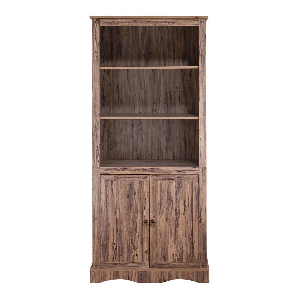 more photos 6bb40 1d8ef Wren Maple Veneer Simplicity Bookcase with 3-Shelves and 2-Doors