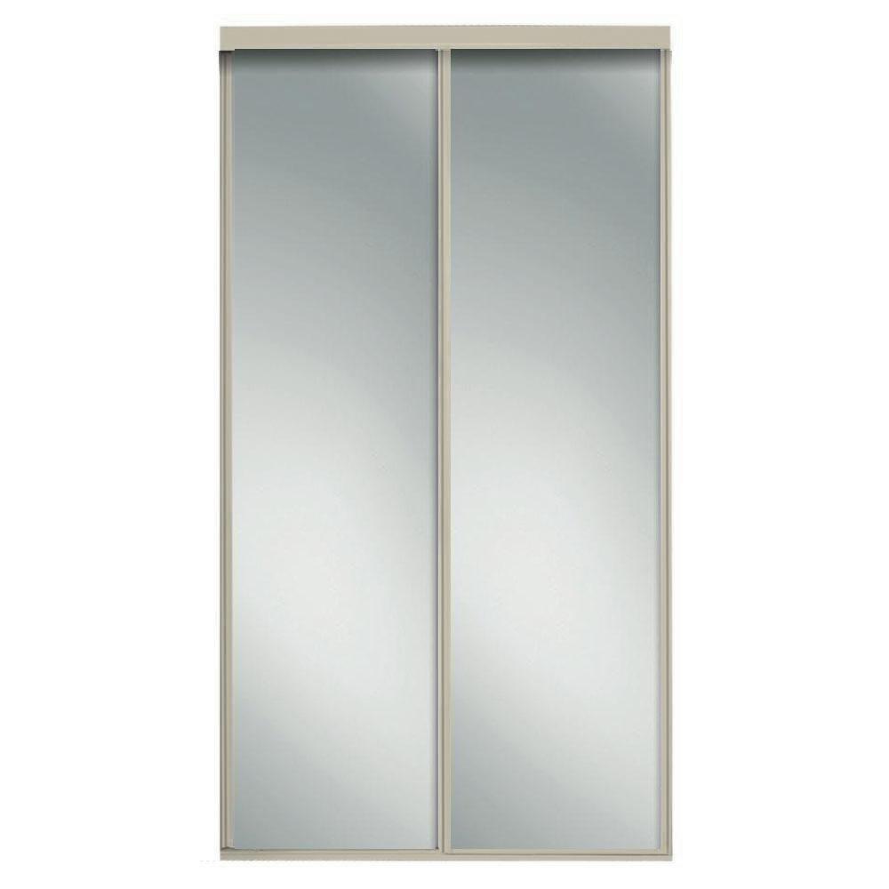 60 in. x 96 in. Concord Brushed Nickel Mirrored Aluminum Frame Interior Sliding Door