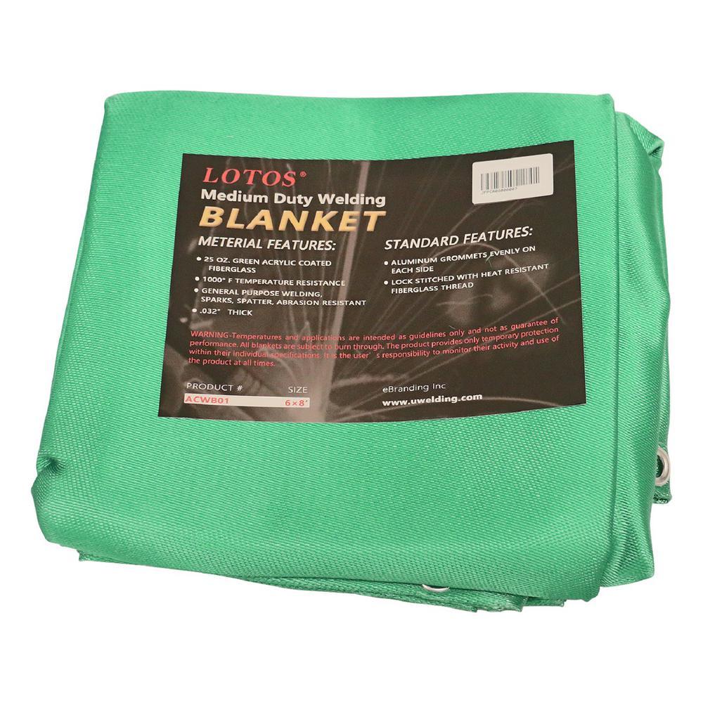 Welding Blanket 6ft x 8ft Green Acrylic Spatter, Abrasion Resist