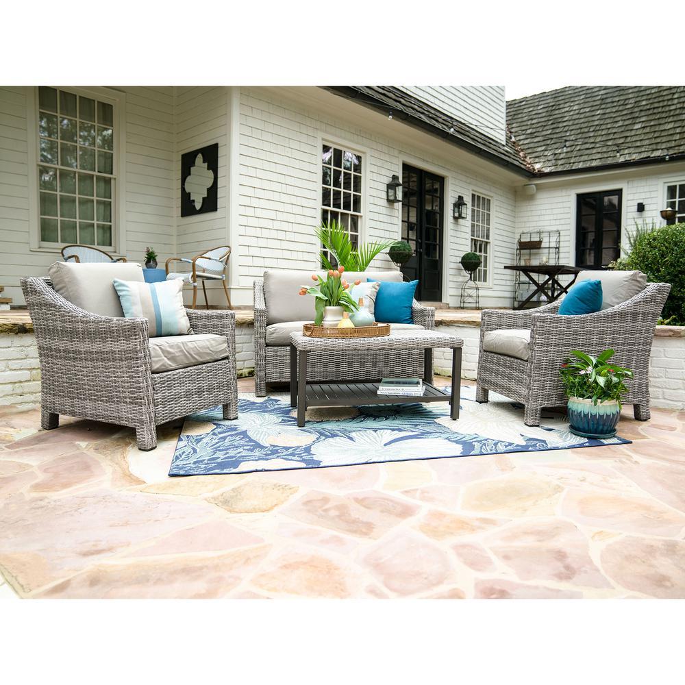Marietta 4-Piece Wicker Patio Conversation Set with Tan Cushions