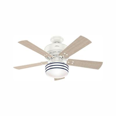 Cedar Key 44 in. Indoor/Outdoor Fresh White Ceiling Fan with Light Kit and Handheld Remote Control