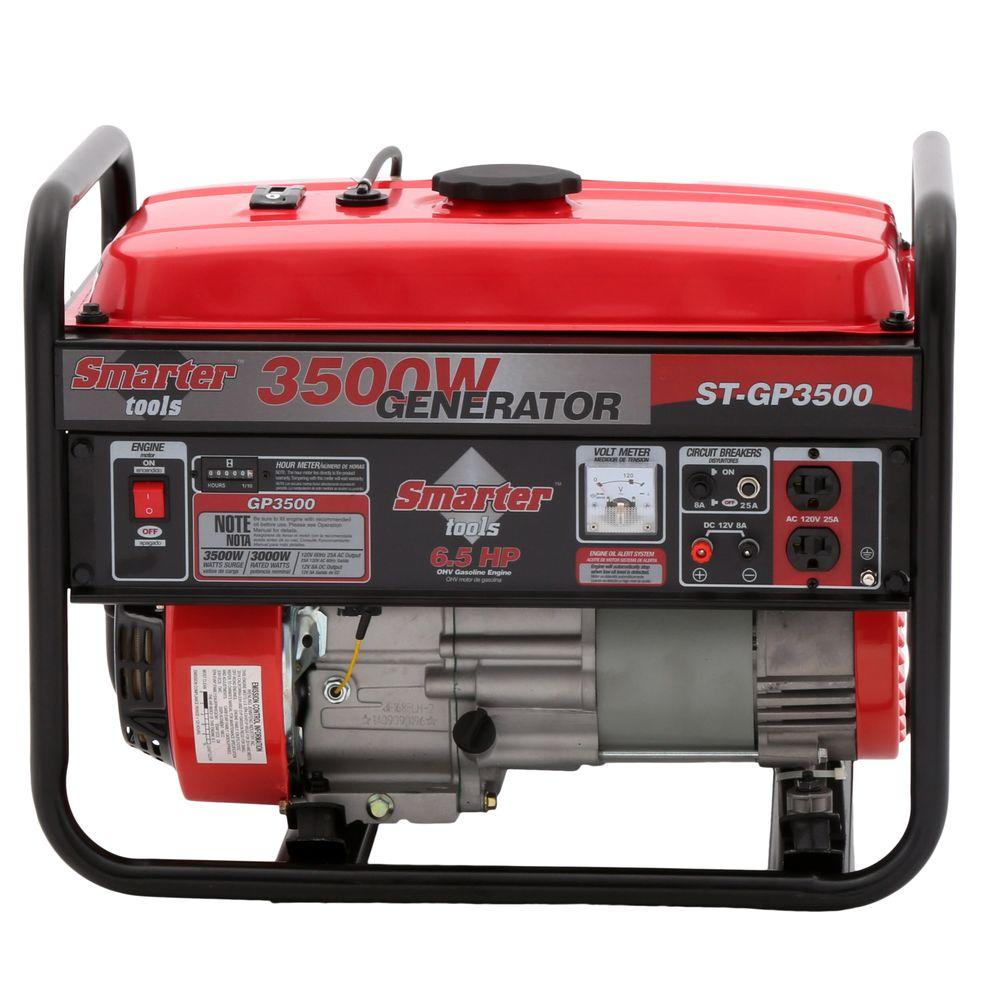 smarter tools 3 500 watt gasoline powered portable generator stgp 3500 the home depot. Black Bedroom Furniture Sets. Home Design Ideas