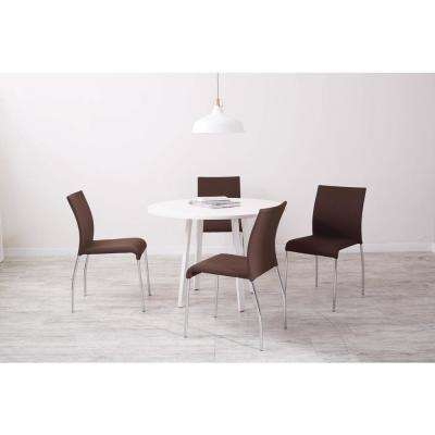Conway Chocolate Fabric Stacking Chairs (Set of 4)