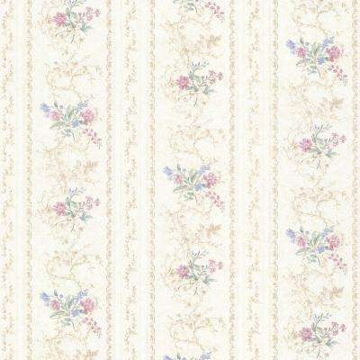 Maury Pink Floral Bouquet Stripe Wallpaper