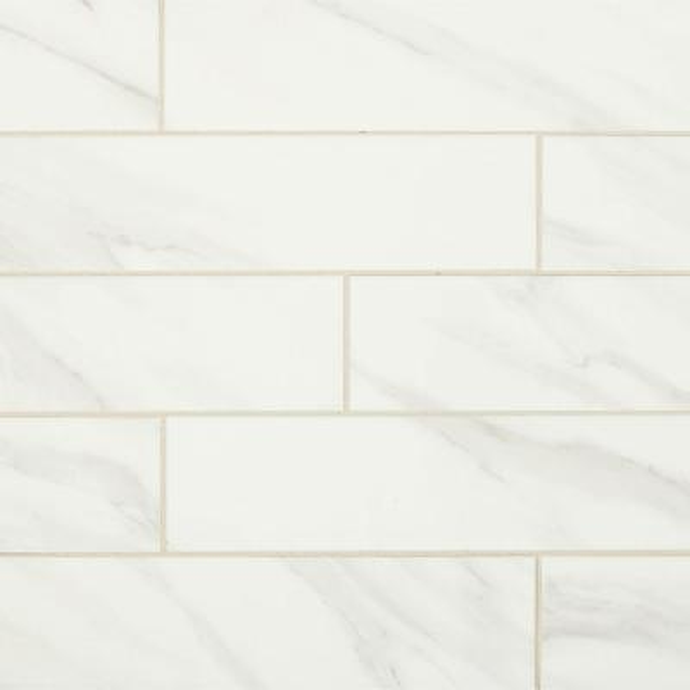 Selwyn Bianco Calacatta 4 in. x 16 in. Glazed Ceramic Wall Tile (13.2 sq. ft. / Case)
