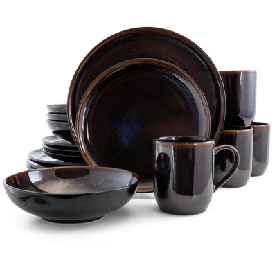 Midnight Beach 16-Piece Modern Metallic Black Stoneware Dinnerware Set (Service for 4)