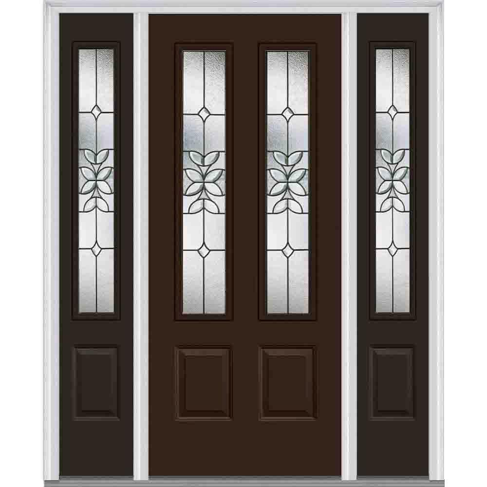 MMI Door 64 in. x 80 in. Cadence Left-Hand Inswing 2-Lite Decorative 2-Panel Painted Steel Prehung Front Door with Sidelites