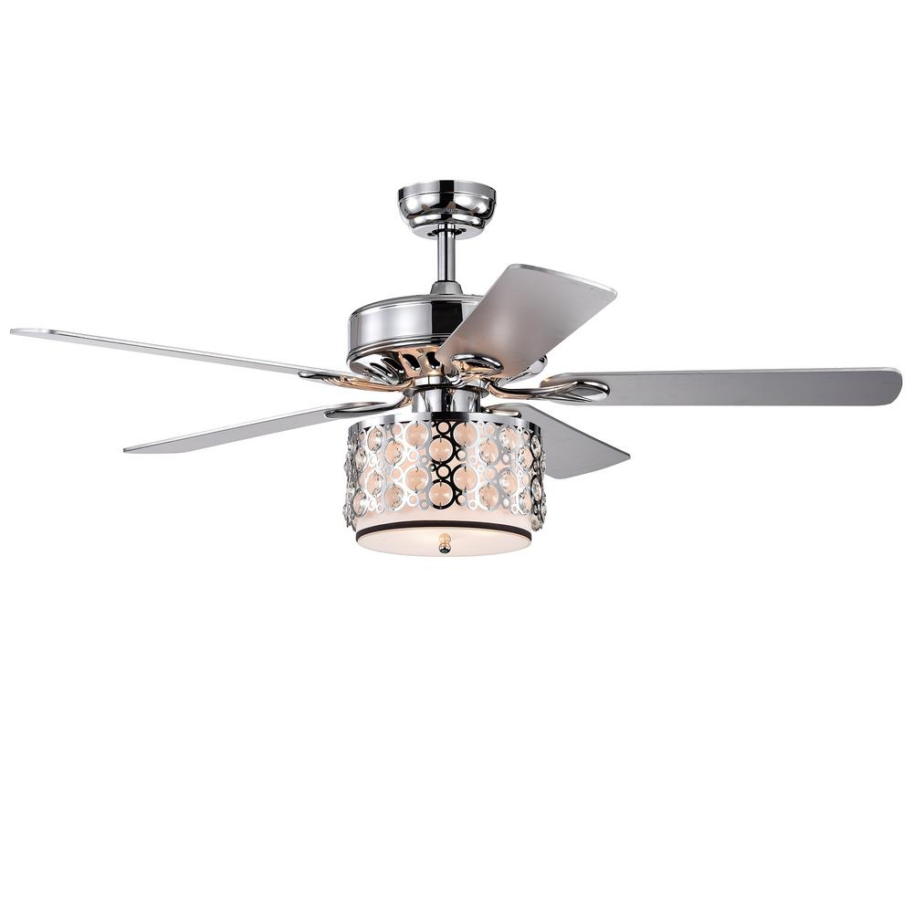 Warehouse of Tiffany Shepherd 52 in. Indoor Chrome Remote Controlled Ceiling Fan with Light Kit