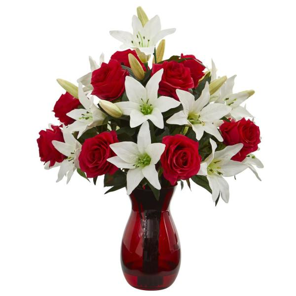 Nearly Natural Indoor Roses and Lilies Artificial Arrangement in Red Vase