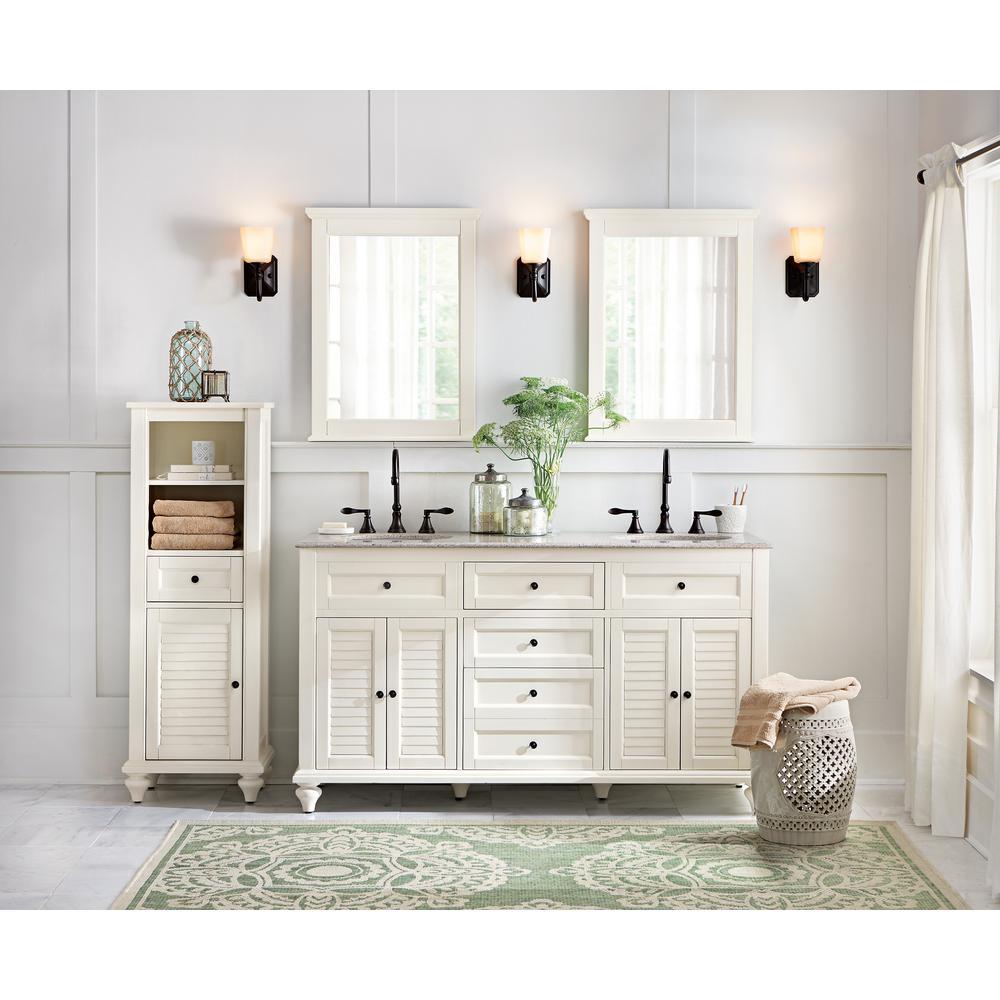 Home Decorators Collection - Hamilton 61 in. W x 22 in. D Double Bath Vanity in Ivory with Granite Vanity Top in Grey