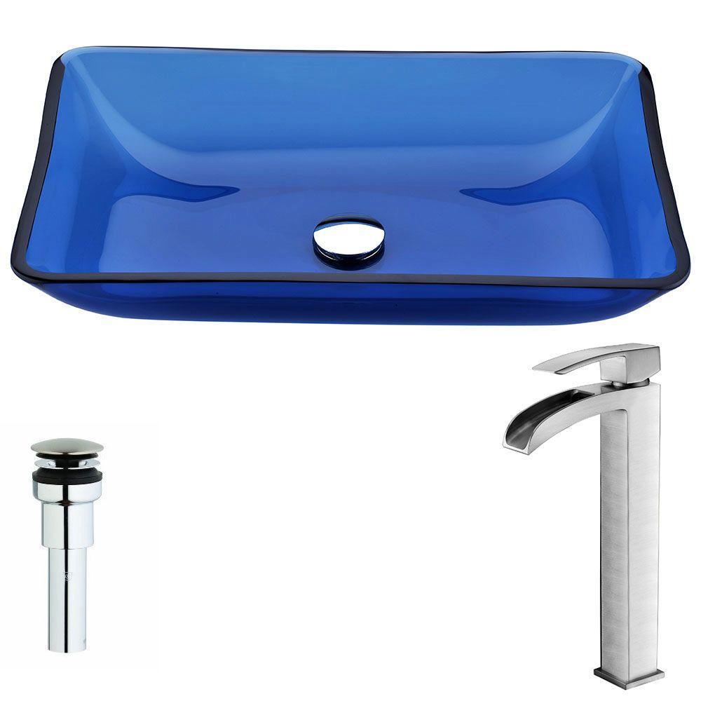ANZZI Harmony Series Deco-Glass Vessel Sink in Cloud Blue with Key ...