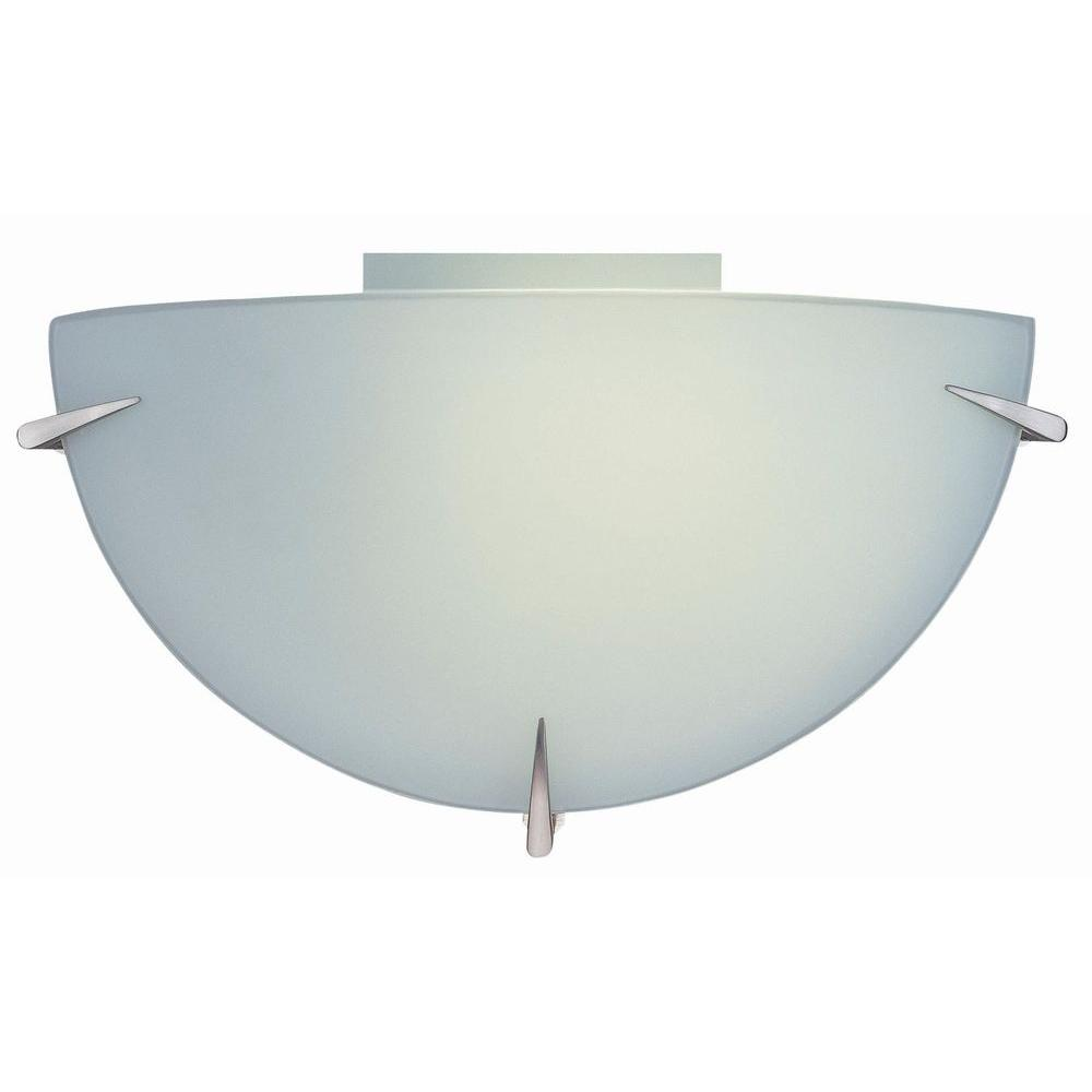 1-Light Polished Steel Sconce with Frost Glass