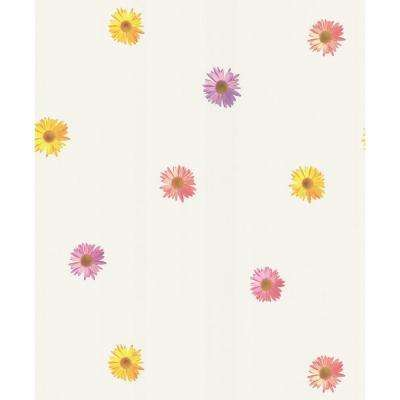 White Spot Floral Wallpaper Sample