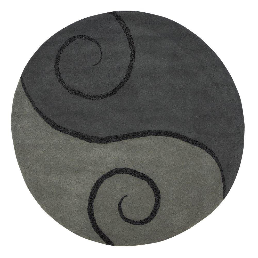 Home Decorators Collection Swirl Grey 7 ft. 9 in. Round Area Rug