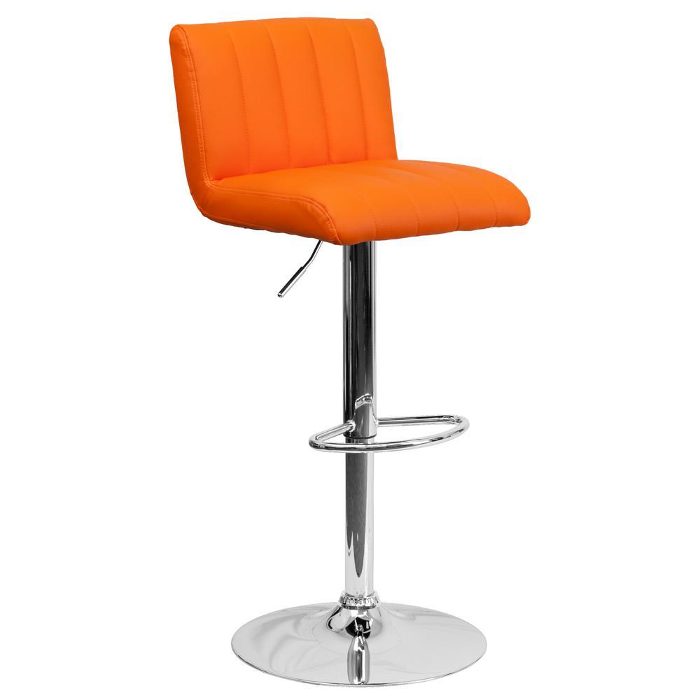 33.50 in. Adjustable Height Orange Cushioned Bar Stool