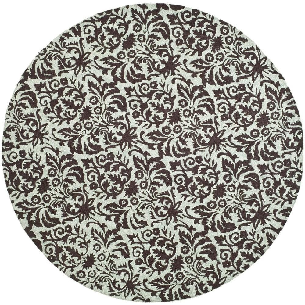 Safavieh Chelsea Sage/Chocolate 8 ft. x 8 ft. Round Area Rug